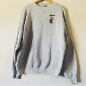 Vintage mickey mouse embroidered grey crewneck